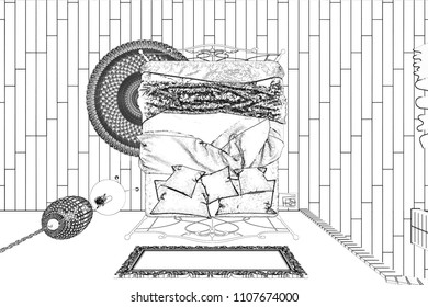 3d illustration.  The sketch of the white bedroom becomes a reality.