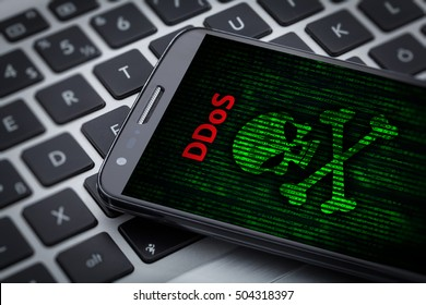3d illustration of skull of death on smart phone screen. ddos attack message on mobile phone on tablet computer