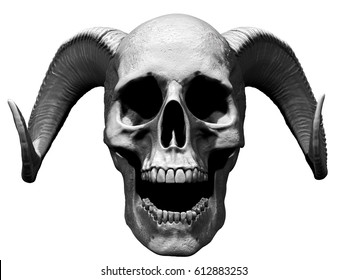 3D illustration of a skull with horns and open mouth in white  background
