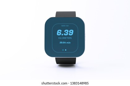 3d illustration. Smart watch with color screen interface on white background. Technology concept.