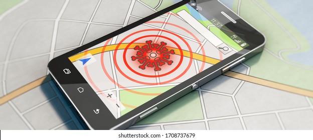 3D illustration, Smartphone with Coronavirus Tracing App