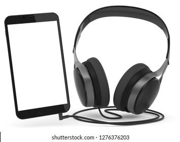 3D illustration smartphone with headphone