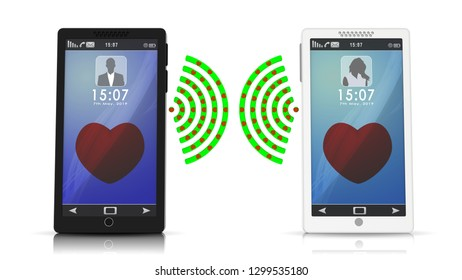 3D illustration. Smartphone, man and woman on the phone talking. Connection and hearts are transmitted love.