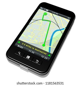 3D illustration. Smartphone  with navigation system application. Maps and road maps.