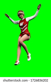 3D illustration of smiling blonde cheerleader in red costume jumping isolated on green background
