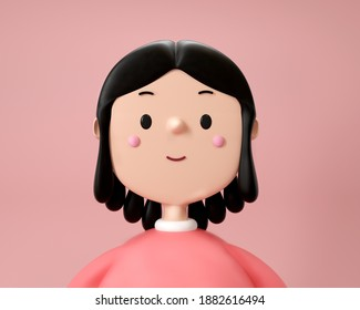 3D illustration of smiling happy girl. Cartoon close up portrait of standing girl on pink background. 3D Avatar for ui ux.