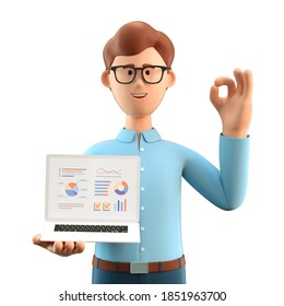 3D illustration of smiling man with ok gesture showing business charts at screen laptop computer. Cartoon businessman with okay sign, working in office and analysing infographic, isolated on white.