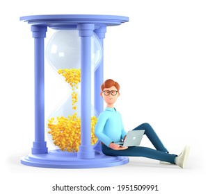 3D illustration of smiling man working on his laptop and sitting on a huge hourglass. Cute cartoon businessman hurrying up to complete tasks. Deadline, project time limit, task due dates concept.