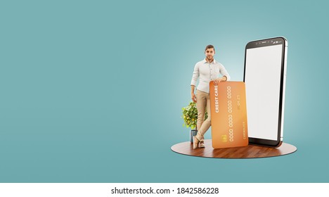 3d illustration of a smiling young man with credit card at his home. Payment online concept. Smartphone application