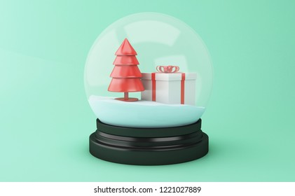 3d illustration. Snow globe with Christmas Tree and gift box. xmas holiday concept.
