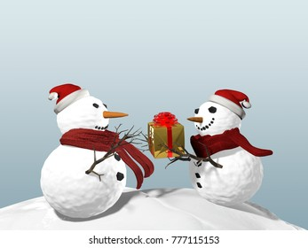 3d illustration of Snowman best friends party for Christmas, joy and happiness giving presents