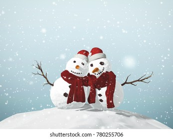 3D illustration of snowman celebrating Christmas with presents. Winter time with snow falling.