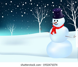 3d illustration of snowman with hat