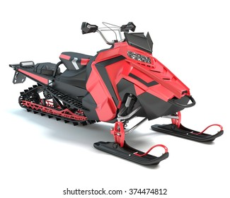 3d illustration of a snowmobile
