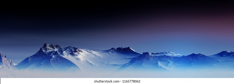 3D Illustration of a snowy mountain in a cool and serene atmosphere