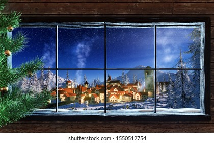 3d illustration of snowy winter Christmas scene of small village at dawn. Cozy town seen through Wooden cabin window frame with Christmas tree.