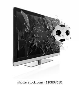 3D illustration of soccer ball breaking TV screen. Stereoscopic TV.