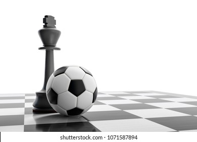 3d illustration of a soccer ball on a chess board