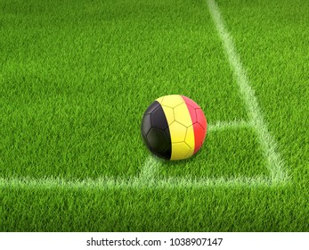 3d illustration. Soccer football with Belgian flag