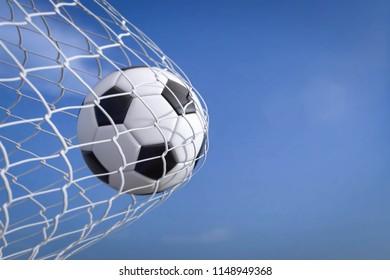 3D Illustration Soccer in goal