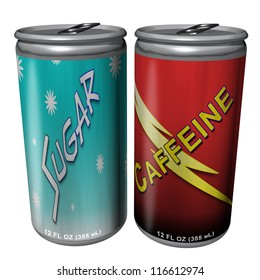3d Illustration of Soda Cans containing sugar and caffeine on white