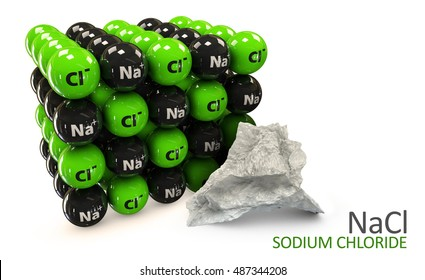 3D Illustration of Sodium chloride rock salt