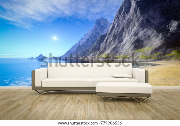 3D illustration of a sofa in front of ocean photomural