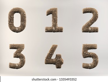 3D Illustration of Soil Alphabet (Numbers and Letters), including clipping path on white background.
