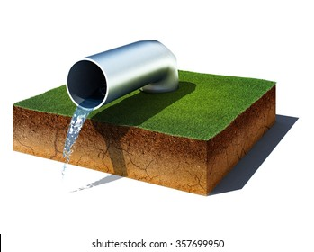 3d illustration of soil cutaway. Aerial view dirt cube with water pipe isolated on white background