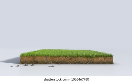 3D Illustration soil ground cross section with earth land and green grass, realistic 3D rendering cutaway terrain floor with rock isolated