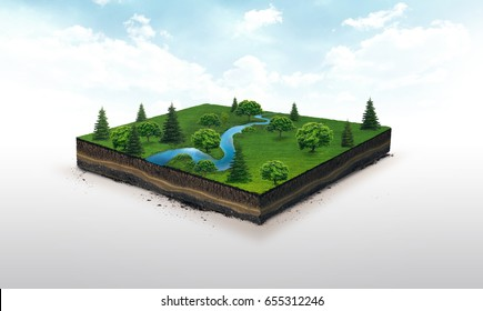 3d illustration of a soil slice, blue river, green meadow with trees isolated on white background
