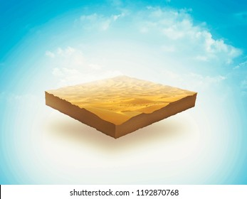 3d illustration of a soil slice, Desert, sand, dune isolated on blu sky