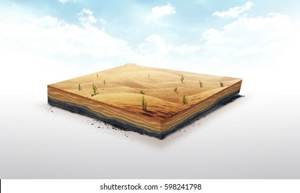 3d illustration of a soil slice, Desert with cacti, sand, dune isolated on white background