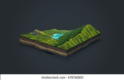 3d illustration of a soil slice, green mountains with lake isolated on dark background