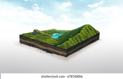 3d illustration of a soil slice, green mountains with lake isolated on white background