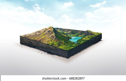 3d illustration of a soil slice, high mountains with lake isolated on white background