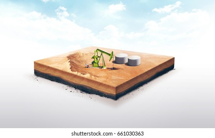 3d illustration of a soil slice, Oil pump jack and oil tank isolated on white background