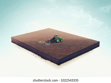 3d illustration of a soil slice, tractor plows a field isolated on white background