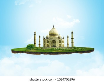 3d illustration of a soil slice, traveling in India, Taj Mahal on light background