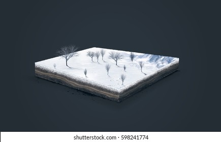 3d illustration of a soil slice, winter nature with trees isolated on dark background