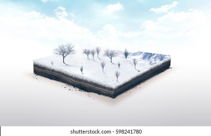 3d illustration of a soil slice, winter nature with trees isolated on white background