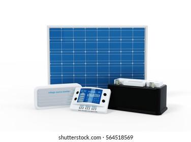 3D Illustration Solar kit concept - all components