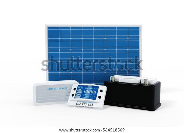 Concepto de kit solar de Ilustración 3D: todos los componentes