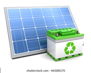 3d illustration of solar panel and green energy battery