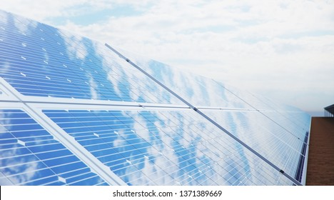 3D illustration Solar Panels. Alternative energy. Concept of renewable energy. Ecological, clean energy. Solar panels, photovoltaic with reflection beautiful blue sky. Solar panels in the desert
