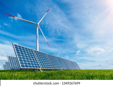 3d illustration. Solar panels and wind turbine on the background of pure blue sky and green grass. Renewable energy Technology saves our planet from pollution and death