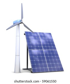 3d illustration of solar and wind power generators