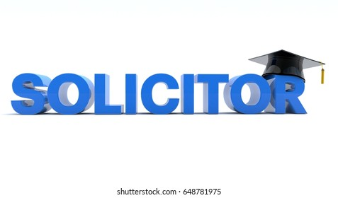 3D illustration of Solicitor text wearing  a graduation hat