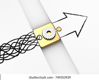 3d illustration of Solution Box with Gear Sign, converting messy lines into a directional arrow. Confusion to Clarity