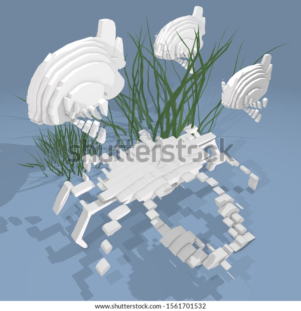 3d illustration, some fishes in ocean on blue background